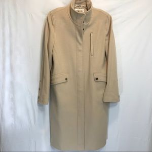 Talbots 100% wool long coat beige sz 6 snap zip